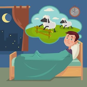 Slapeloze man tellen schapen cartoon afbeelding