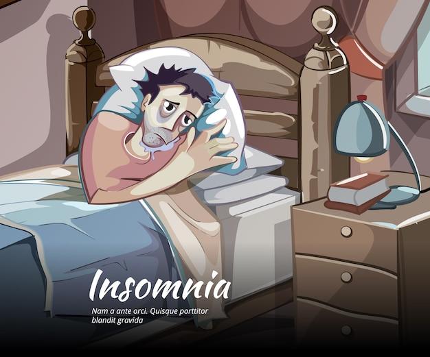 Slapeloze vector teken. slapeloosheid en slapeloosheid, slaapkamer persoon illustratie