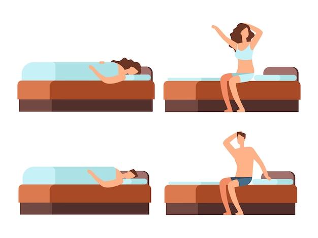 Slapen en wakker man en vrouw stripfiguur