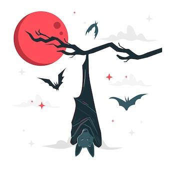 Slapen vleermuis concept illustratie
