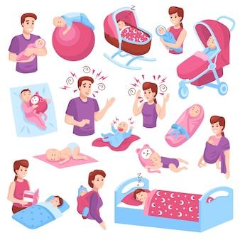 Slapende baby's ingesteld