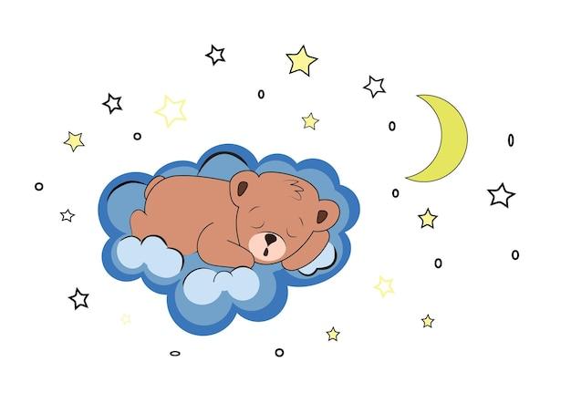 Slapende beer op een blauwe wolk in de lucht met sterren en maan