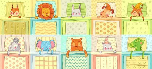 Slapende dieren. schattige dieren nachtrust in bed, grappige hond op kussen en kat in slaapmuts cartoon vector illustratie set