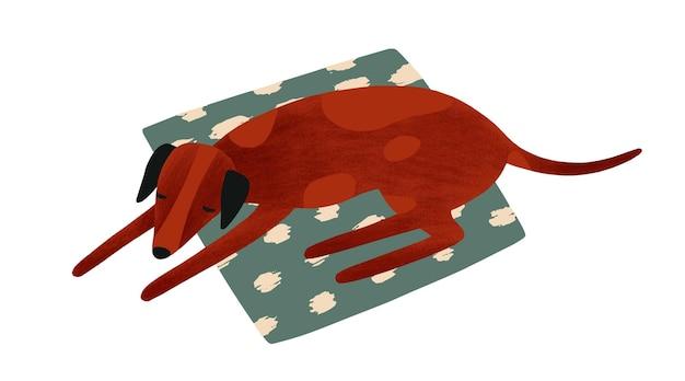 Slapende hond platte vectorillustratie. schattig huisdier liggend op textiel tapijt. bruine rashond die op eigenaar wacht. viervoeter, huisdier. hond geïsoleerd op een witte achtergrond.