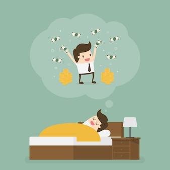 Slapende man droomt van veel geld.