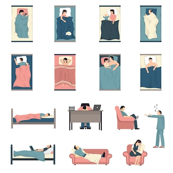 Slapende mensen plat pictogrammen instellen