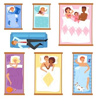 Slapende mensen slaperige stripfiguren van man of vrouw en familie met baby slapen op kussen in bed 's nachts illustratie set dwarsliggers slaapkop zakenman op witte achtergrond