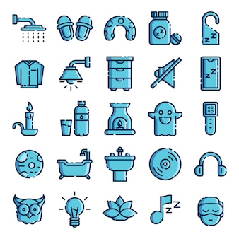 Slapende pictogrammen pack. geïsoleerde slaap symboleninzameling. grafisch pictogrammenelement