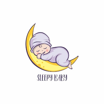 Slapende schattige baby logo ontwerp