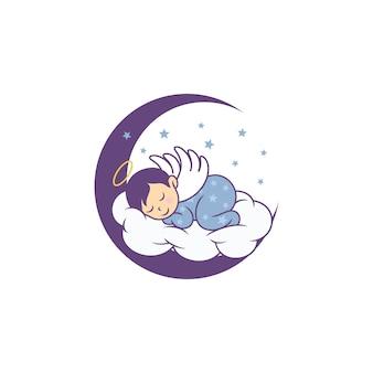 Slapende schattige baby logo ontwerpen sjabloon