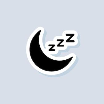 Slapende sticker, logo, icoon. vector. kussen. slaap. rust, ontspanning, herstel. vector op geïsoleerde achtergrond. eps 10