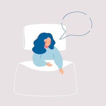 Slapende vrouw heeft droom in tekstballon boven haar bed.