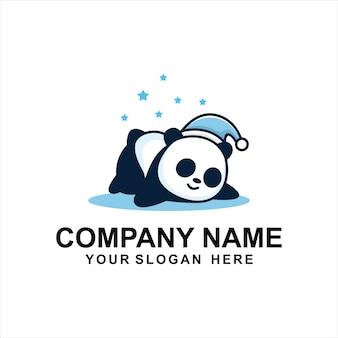Slaperig panda logo ontwerp