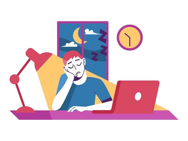 Slaperige man werkt overuren vanuit huis op een laptop