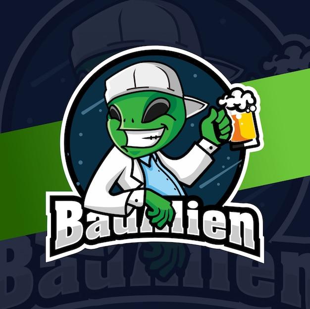 Slecht buitenaards mascotte esport logo