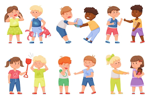 Slecht gedrag van kinderen ruzie om speelgoed dat elkaar duwt broer pest zus agressieve kinderen