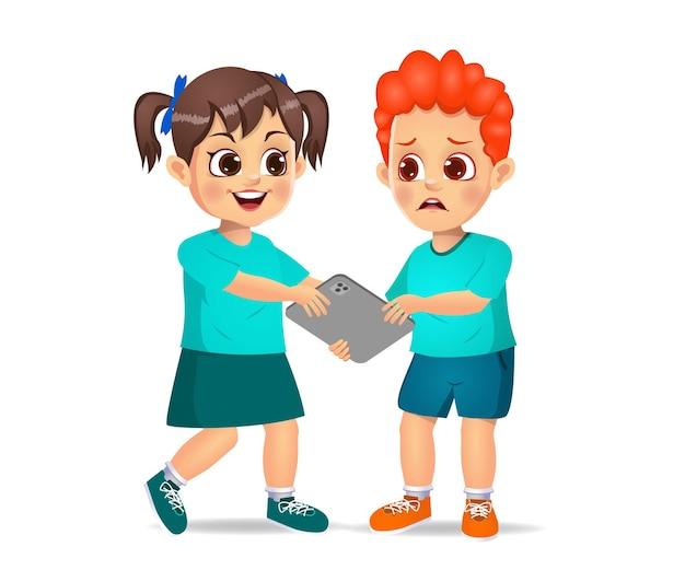 Slecht kind dat tablet met kracht van haar vriend neemt. geïsoleerd op wit