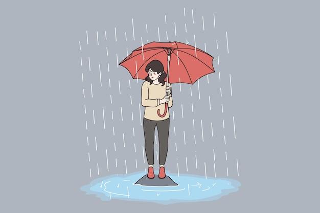 Slecht weer, regen, stormconcept. jong verdrietig gefrustreerd meisje stripfiguur permanent met rode grote paraplu onder stormvloed vectorillustratie