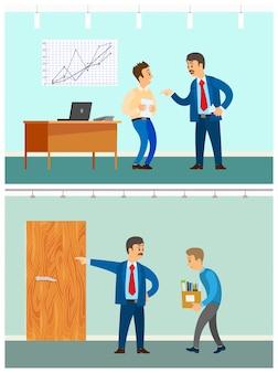 Slechte baan en ontslag, boze baas en werknemer