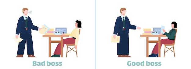 Slechte baas versus goede baas infographic over werkethiek onderwerp platte vectorillustratie