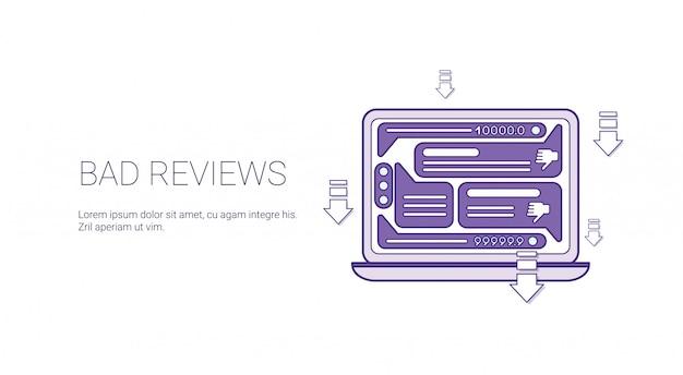 Slechte beoordelingen negatieve feedbacksjabloon banner