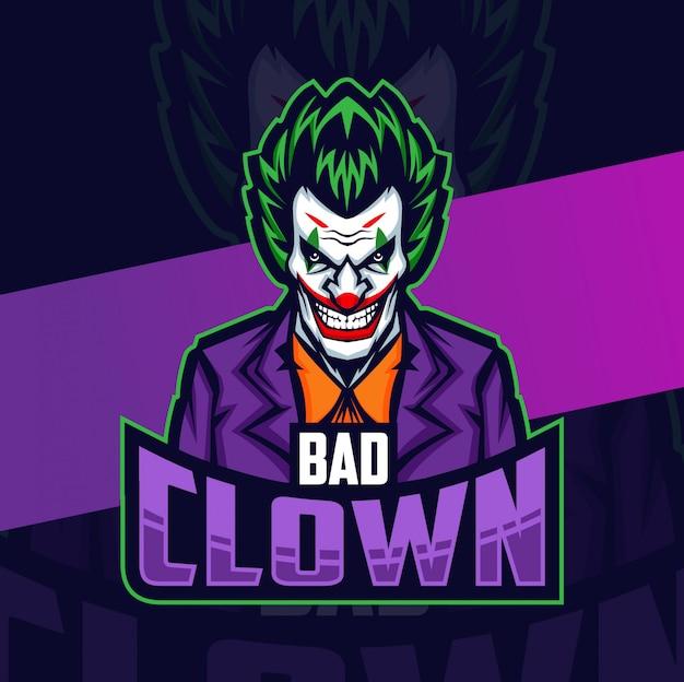 Slechte clown mascotte esport logo ontwerp
