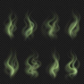 Slechte geur stoom, groene giftige stinken rook, vuile man geur wolken ingesteld
