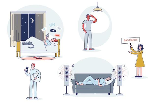 Slechte gewoonten ingesteld. geïsoleerde stripfiguren die lijden aan slapeloosheid