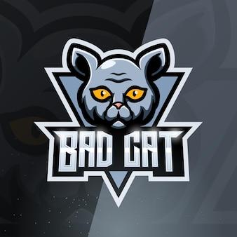 Slechte kat mascotte esport-logo