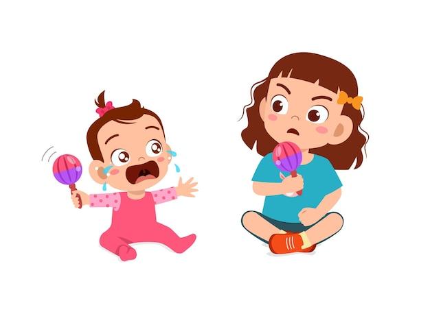 Slechte kleine meid maakt het broertje of zusje aan het huilen