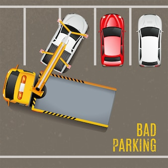 Slechte parkeergelegenheid bovenaanzicht achtergrond