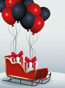 Slee met geschenkdozen en rode en zwarte ballonnen over grijs