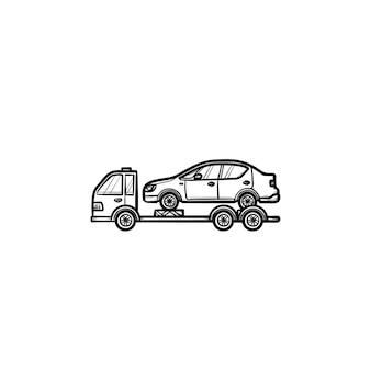 Sleepwagen met gebroken auto hand getrokken schets doodle pictogram. pechhulp, autotransportconcept