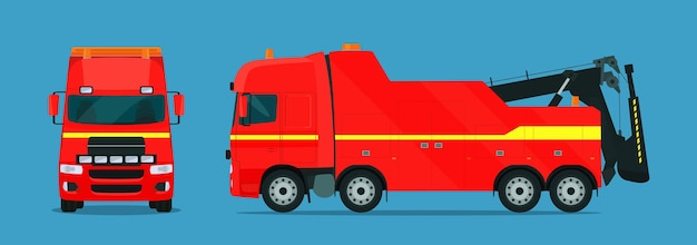 Sleepwagen voor vrachtwagens ingesteld. sleepwagen met zij- en vooraanzicht.