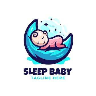 Sleepy babylogo ontwerpsjabloon met leuke details