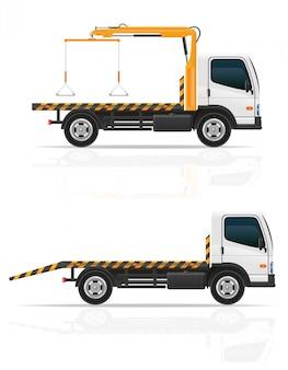 Slepenvrachtwagen voor vervoersfouten en de vectorillustratie van noodsituatieauto's