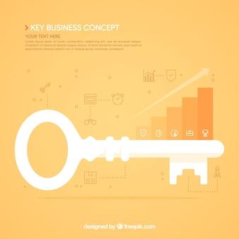 Sleutel bedrijfsconcept met platte ontwerp