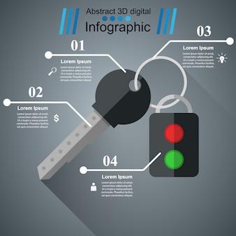 Sleutel en alarmpictogram. bisiness infographic.