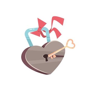 Sleutel en hangslot met hart valentijnsdag viering concept wenskaart banner uitnodiging poster illustratie