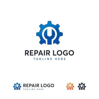 Sleutel en versnelling service logo sjabloon