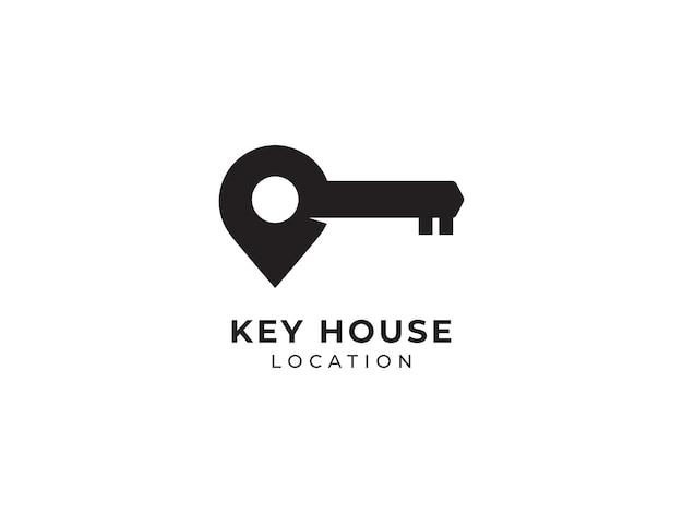 Sleutel huis locatie logo ontwerp concept pin pictogram illustraties