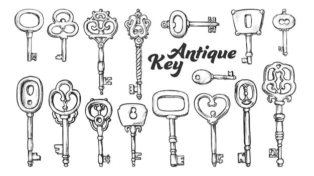 Sleutel in verschillende vorm en materiaal inktset