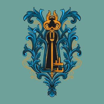 Sleutel ornament illustratie