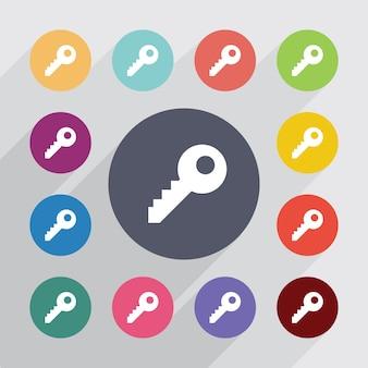 Sleutel, plat pictogrammen instellen. ronde kleurrijke knopen. vector