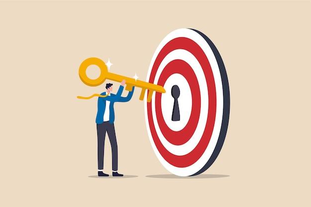 Sleutel tot succes en het bereiken van zakelijke doelstellingen Premium Vector