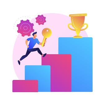 Sleutel tot zakelijk succes. bedrijfsvooruitgang, leiderschapsgeheim, ambitieuze plannen. ondernemer die zakelijke kansen benut en een toppositie bereikt
