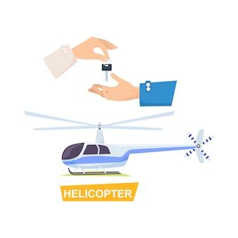 Sleutel van de hand passeren. proces van het kopen van helikopters
