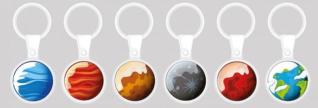 Sleutelhanger sjabloon met verschillende planeten