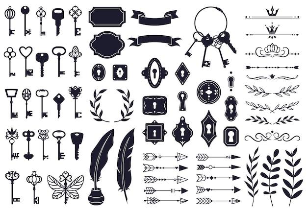 Sleutels decoratieve elementen