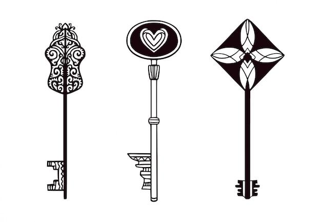 Sleutels geïsoleerde collectie. tattoo kunst in minimalistische stijl